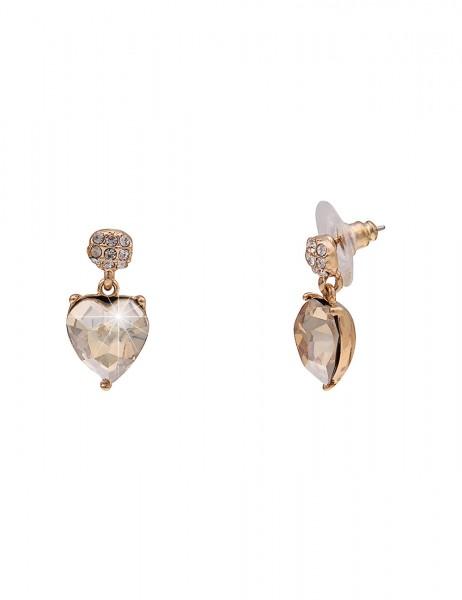 Leslii Damenohrringe Ohrhänger Herzglanz aus Metalllegierung mit Glasstein Länge 2cm in Gold