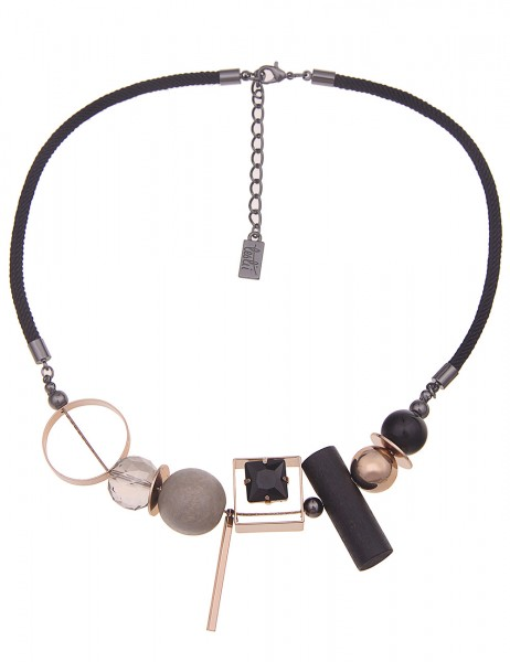 Leslii Damenkette echte Holz-Kette Statement-Kette Textil kurze Halskette schwarze Modeschmuck-Kette