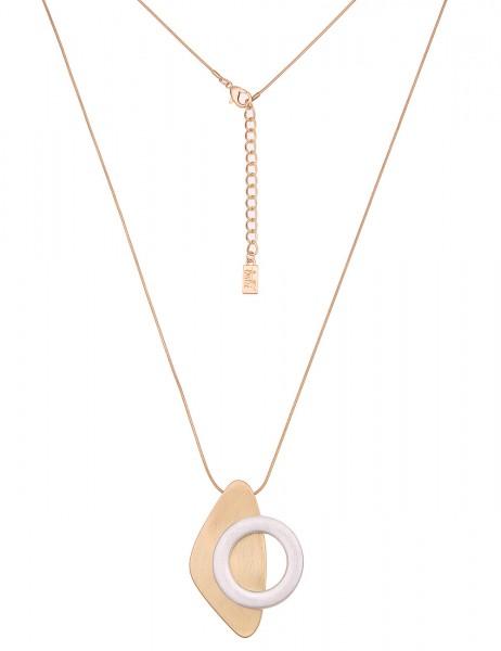 Leslii Damen-Kette Bicolor Formen Gold Silber Metalllegierung Matt 82cm + Verlängerung 220116323