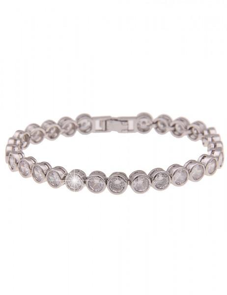 Leslii Damenarmband Glitzer-Armband Glas-Steine Statement-Armband Strass silbernes Modeschmuck-Armba