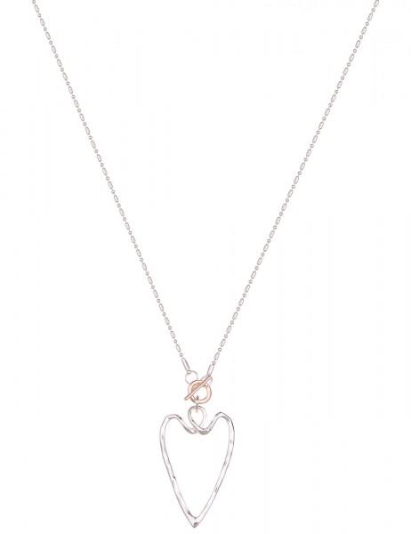 Leslii Damen-Kette Statement Herz-Anhänger Bicolor Herz-Kette lange Halskette silberne Modeschmuck-K