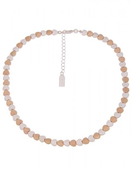 Leslii Damen-Kette Valentina Statement Bicolor Herz-Kette Collier-Kette kurze Halskette silberne Mod