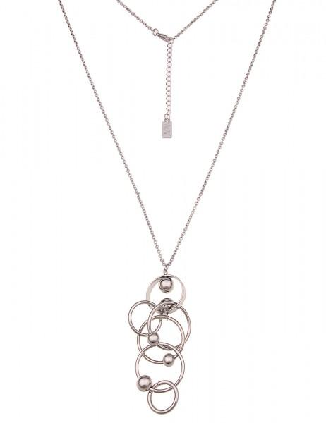 Leslii Damenkette Kugelspiel aus Metalllegierung Länge 84cm in Silber Hochglanz