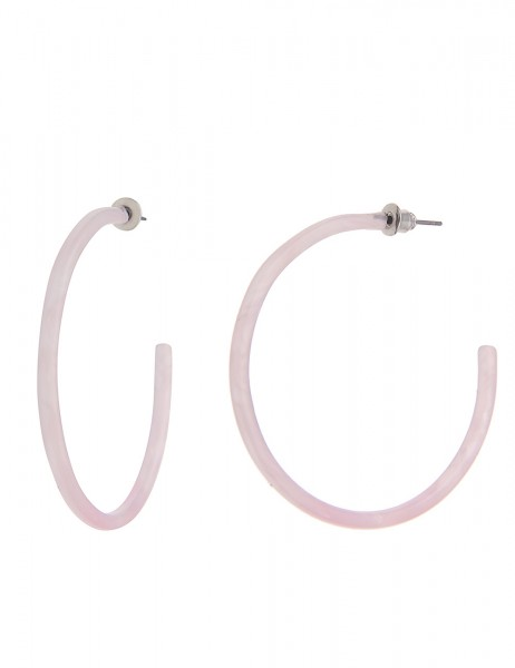 Leslii Damen-Ohrringe Creolen New Look Modeschmuck-Ohrringe Kunststoff Größe Ø 4,5cm in Rosa