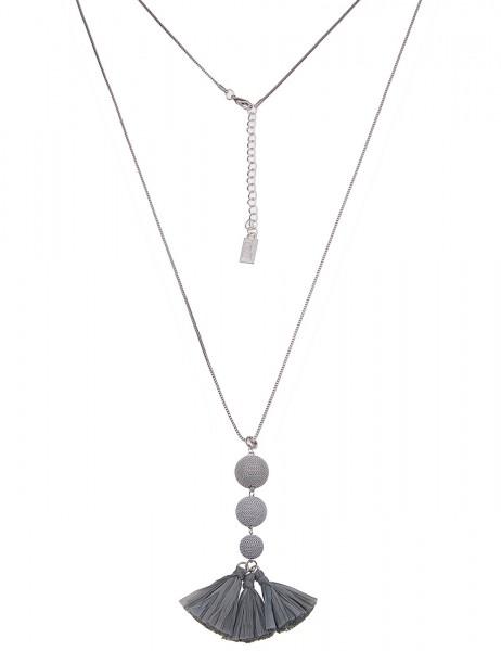 Leslii Damenkette Ketten-Kugel Bast Tassel aus Metalllegierung Länge 80cm in Silber Grau