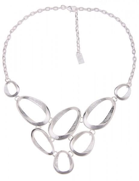 Leslii Damenkette Oval Muster aus Metalllegierung Länge 45cm in Silber Hochglanz