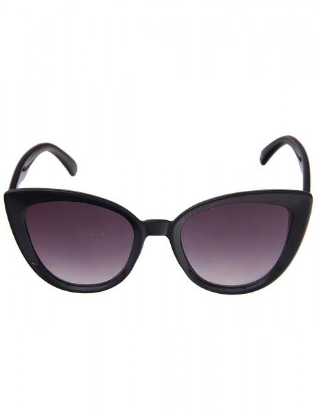 Leslii Sonnenbrille Damen Cateye-Look Katzenaugen schwarze Designerbrille Sunglasses Schwarz