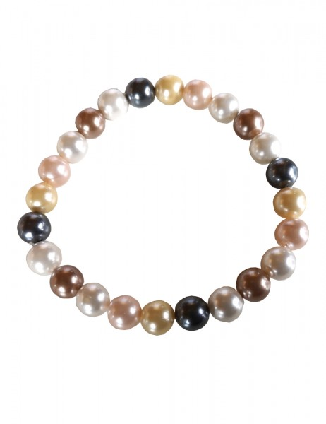 Leslii Damen-Armband Perlen-Armband Perlen-Schmuck buntes Modeschmuck-Armband Multi in Grau Weiß Ros