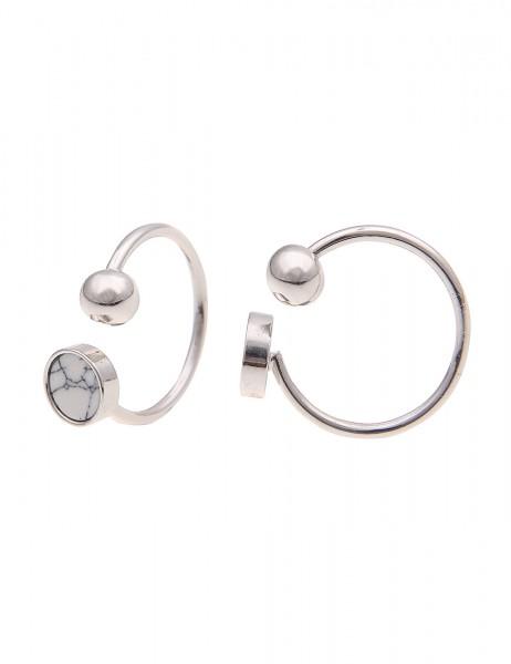 Leslii Damenring Marmor Look aus Metalllegierung mit Naturstein Größe verstellbar in Silber Weiß