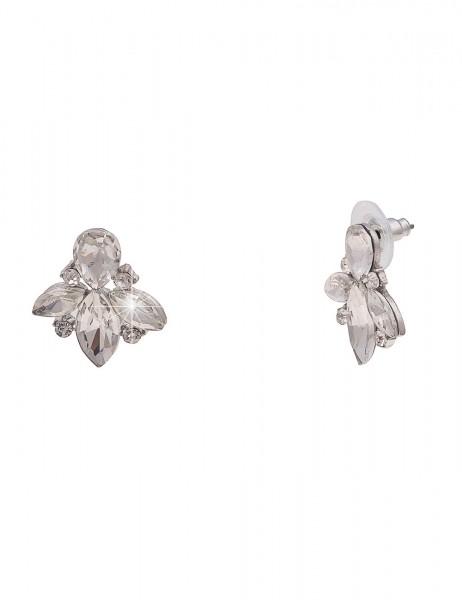 Leslii Damen-Ohrringe Glitzer Ohrstecker Glas-Steine Strass-Ohrringe silberne Modeschmuck-Ohrringe O
