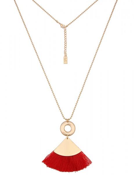 -50% SALE Leslii Damen-Kette Bommel-Dreieck Gold Rot Metalllegierung Textil 79cm + Verlängerung 2202