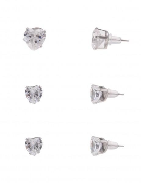 Leslii Damen-Ohrringe Ohrstecker 3er Set Herzen Silber Weiß Metalllegierung Glassteine 0,5cm, 0,7cm