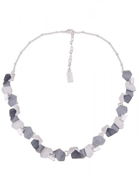 Leslii Damenkette Matt Formen aus Metalllegierung Länge 44cm in Silber Weiß Grau
