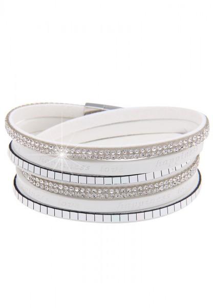 Leslii Wickel-Armband Glitzer Happiness Weiß   modisches Damen-Armband Mode-Schmuck   Länge: 40cm