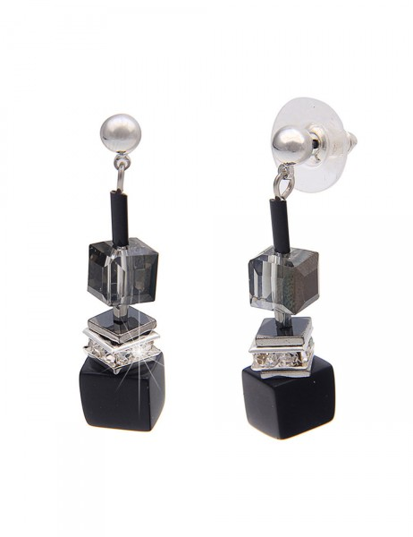 -50% SALE Leslii Premium Quality Damen-Ohrringe Ohrhänger Glitzer-Würfel Schwarz Metalllegierung 4cm