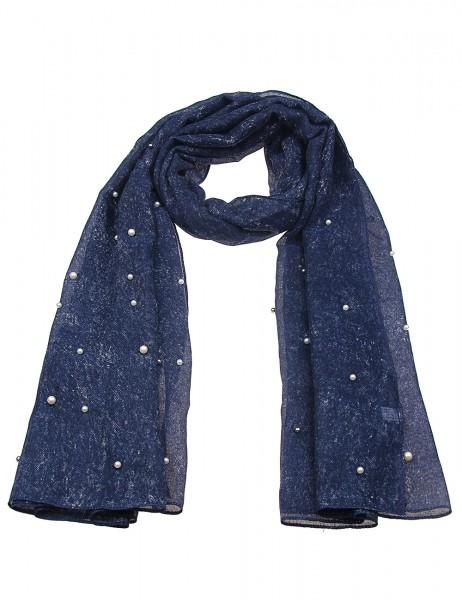 -50% SALE Leslii Damen-Schal Glanz Perlen 100% Polyester 180cm x 89cm Blau Beige 900117138