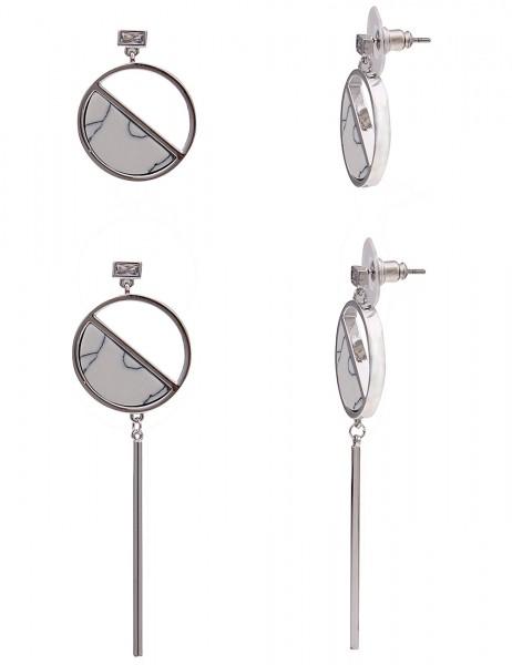-50% SALE Leslii Damenohrringe Ohrhänger Marmor-Look aus Metall mit Naturstein Länge 6.5cm und 2,5cm