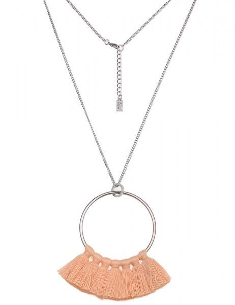 -50% SALE Leslii Damen-Kette Bommel-Ring Silber Apricot Textil Metalllegierung 83cm + Verlängerung
