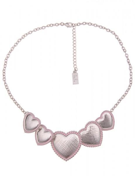 -50% SALE Leslii Damen-Kette Statement Herzen Silber Rosa Metalllegierung Hochglanz 43cm + Verlänger