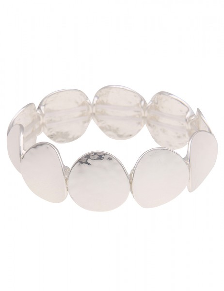 Leslii Damen-Armband Armreif Glanz-Scheiben Statement-Armband breiter Armreif silbernes Modeschmuck-