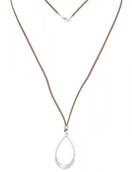 Leslii Damen-Kette Glitzer Tropfen Silber Braun Metalllegierung Lederimitat 84cm + Verlängerung 2201