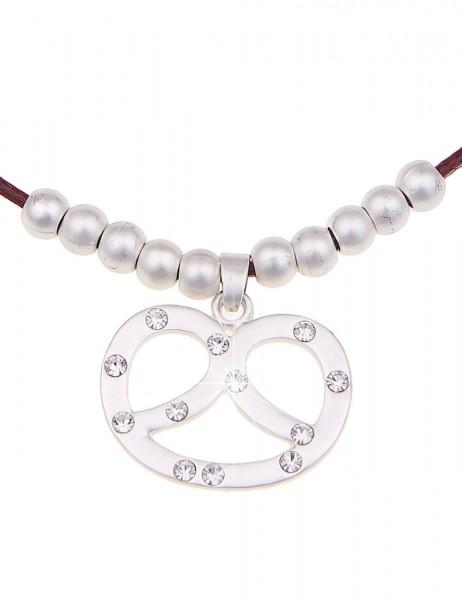 Leslii Oktober-Fest Halskette Tracht Brezel Rot | kurze Damen-Kette Mode-Schmuck | 43cm