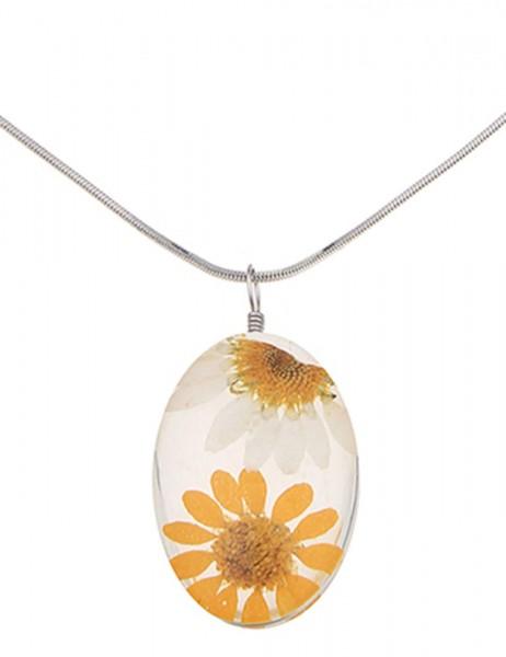 -50% SALE Leslii Damen-Kette Flowers Gelb Weiß Metalllegierung Blumen 43cm + Verlängerung 220116103
