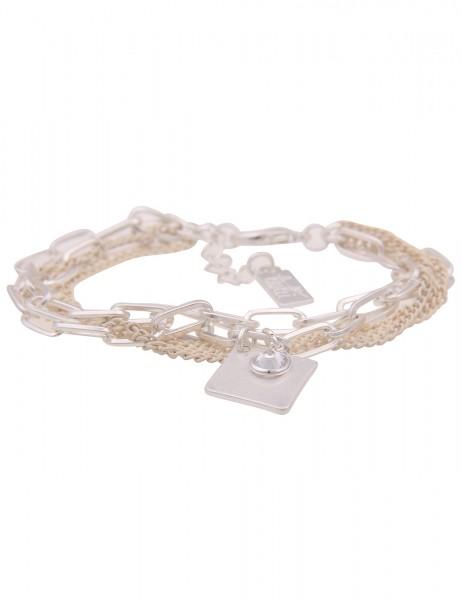 Leslii Damen-Armband Raute Karo Glieder-Armband mehrfaches Modeschmuck-Armband silbernes Armschmuck