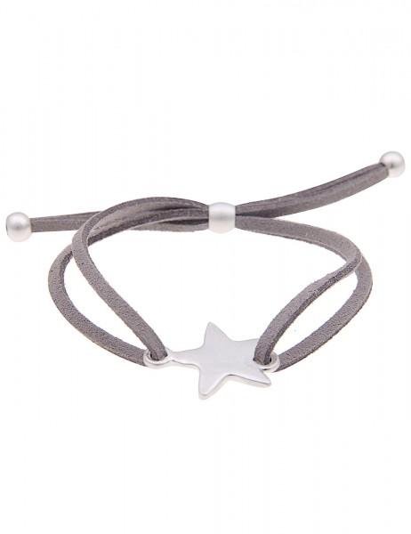 Leslii Damen-Armband Classic Stern Grau Silber Metalllegierung Lederimitat Größe verstellbar 2601168