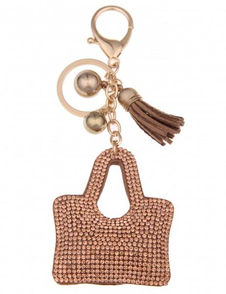 -70% SALE Leslii 4teen Schlüsselanhänger Glitzer Tasche aus Lederimitat mit Strass Länge 14,2cm in B