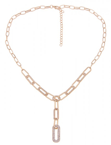 Leslii Damen-Kette Statement Glitzer Y-Kette Strass-Kette Collier-Kette kurze Halskette goldene Mode
