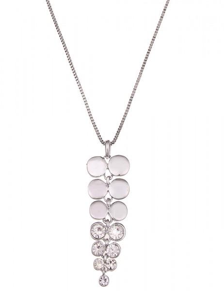 Leslii Halskette Glitzer Move Silber | lange Damen-Kette Mode-Schmuck | 83cm + Verlängerung