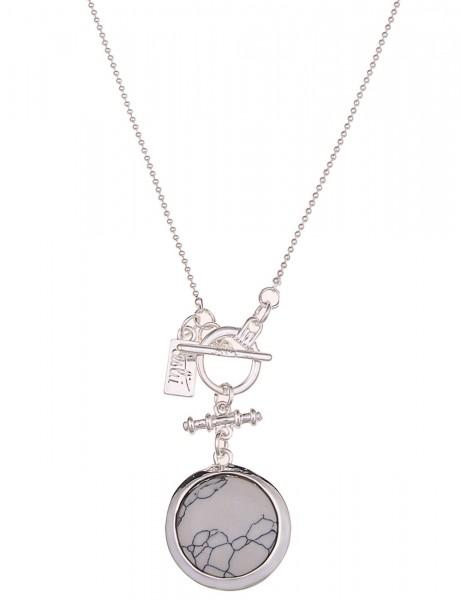 Leslii Halskette Stein-Muster Silber | lange Damen-Kette Mode-Schmuck | 85cm mit T-Verschluss