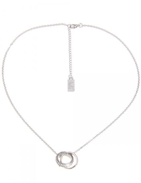 Leslii Damen-Kette Glitzer-Ring Silber Weiß Metalllegierung Strass 40cm + Verlängerung 210115986