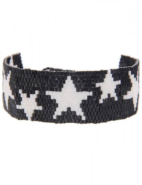 -70% SALE Leslii Damen-Armband Web-Muster Sterne Schwarz Weiß Textil Glasperlen Größe verstellbar 26