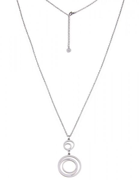 Leslii Damenkette Double Ring-Look aus Edelstahl Länge 83cm in Silber