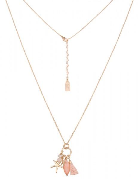 Leslii Damen-Kette zarte Glieder-Kette Perlmutt Seestern-Anhänger lange Halskette goldene Modeschmuc