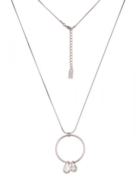 Leslii Damen-Kette Classic Ring Metalllegierung Glasstein 84cm + Verlängerung Silber 220117036