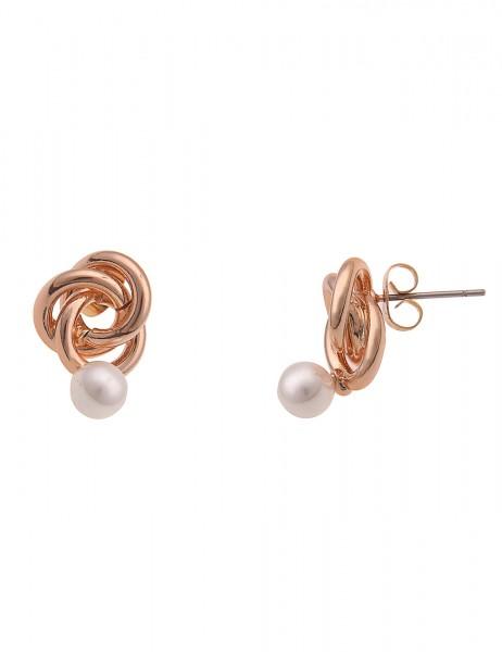 Leslii Damen-Ohrringe Ohrstecker Perlen-Knoten weiße Perlen-Ohrringe Modeschmuck-Ohrringe Ohrschmuck