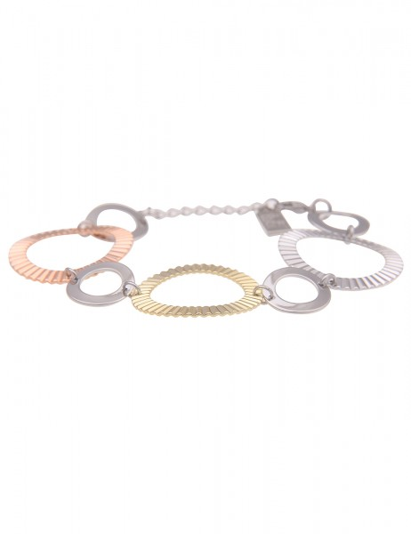 Leslii Damen-Armband Helena Tricolor Ringe Statement-Armband silbernes Modeschmuck-Armband Armschmuc
