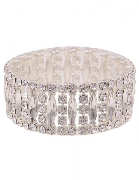 Leslii Damen-Armband Glitzer-Armreif Glas-Steine Statement-Armband silbernes Modeschmuck-Armband Arm