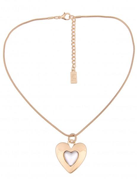 Leslii Damen-Kette Bicolor Herz Gold Silber Metalllegierung 42cm + Verlängerung 210216348