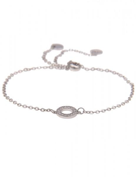Leslii 4teen Damenarmband Glitzer Ring aus Metalllegierung mit Strass Länge verstellbar in Silber