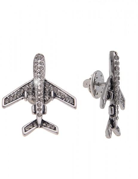 -70% SALE Leslii Pin Anstecker Glitzer Flugzeug Silber | Damen-Accessoires Mode-Schmuck | Größe: 3,3