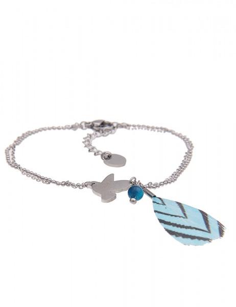 Leslii 4teen Damenarmband Taube aus Metalllegierung mit Feder Länge 16cm in Silber Blau