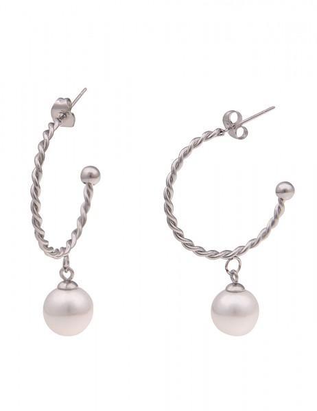 Leslii Damen-Ohrringe Creolen Creole Swirl silberne Modeschmuck-Ohrringe weiße Perlen-Ohrringe Hochg