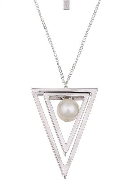 Lange Halskette Dreieck Pearls Silber