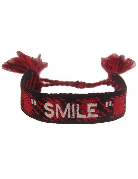 Leslii Damen-Armband Festival Style Smile-Schriftzug Rot Schwarz