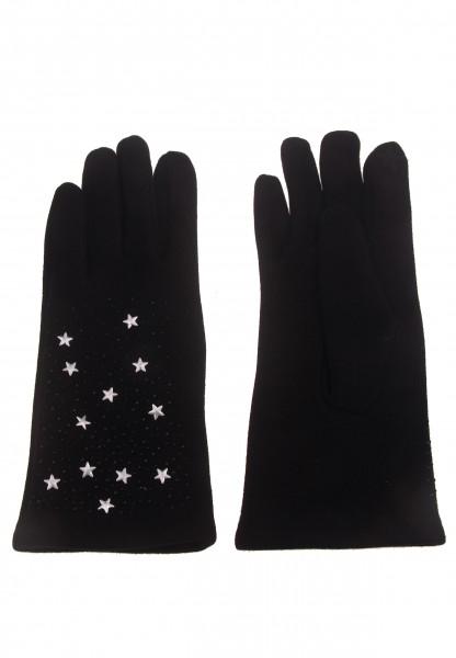 Leslii Damen-Handschuhe Fashion Stern-Nieten Stern-Handschuhe schwarze Winter-Handschuhe Teddy-Fleec