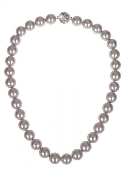 Leslii Damenkette Perlen Mallorca aus Muschelkern-Perlen Länge 44cm in Grau